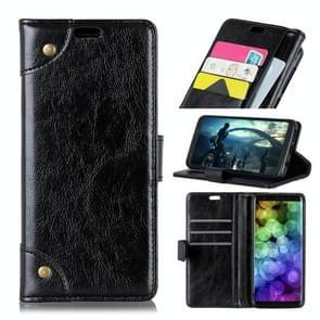 Koperen gesp Nappa textuur horizontale Flip leren Case voor OnePlus 6T  met houder & kaartsleuven & portemonnee (zwart)