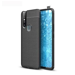 Litchi Texture TPU Shockproof Case for Vivo V15 (Black)
