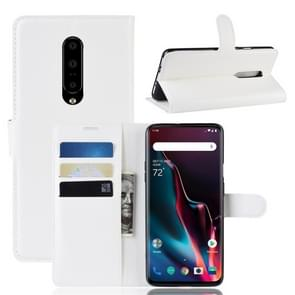 Litchi Texture Horizontal Flip Leather Case for OnePlus 7 Pro, with Wallet & Holder & Card Slots(White)