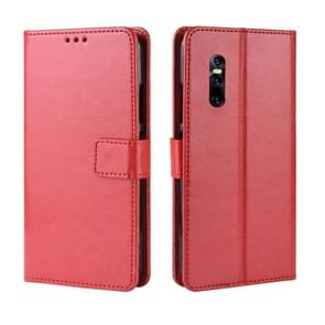 Retro Crazy Horse Texture Horizontal Flip Leather Case for VIVO V15 Pro, with Holder & Card Slots & Photo Frame(Red)