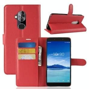 Litchi Texture Horizontal Flip PU Leather Case for Alcatel 7, with Holder & Card Slots & Wallet (Red)