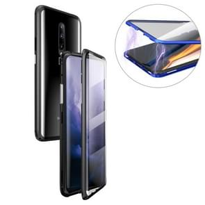 Ultra Slim Double Sides Magnetic Adsorption Angular Frame Tempered Glass Magnet Flip Case for OnePlus 7 Pro (Black)