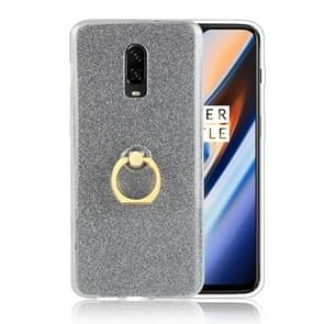 Glittery Powder Shockproof TPU Protective Case for OnePlus 6T, with 360 Degree Rotation Ring Holder (Black)