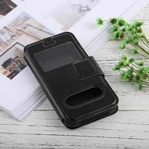 For iPhone, Galaxy, Huawei And Other 5.5-6.0 Inch Mobile Phones, Solid Color Horizontal Flip Universal Leather Case with Call Display ID & Holder & Magnetic Buckle(Black)