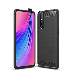 Brushed Texture Carbon Fiber Shockproof TPU Case for VIVO V15 Pro(Black)