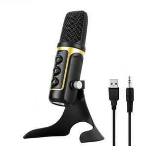 RODD Warrior USB ECHO geluid opname condensatormicrofoon met houder, compatibel met PC / Mac voor Live uitgezonden Show, KTV, etc.(Gold)