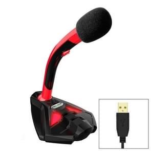 K1 Desktop Omnidirectional USB Wired Mic Condenser Microphone with Phone Holder, Compatible with PC / Mac for Live Broadcast, Show, KTV, etc(Black + Red)