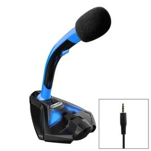 K1 Desktop Omnidirectional 3.5mm Plug Wired Mic Condenser Microphone with Phone Holder, Compatible with PC / Mac for Live Broadcast, Show, KTV, etc(Black + Blue)