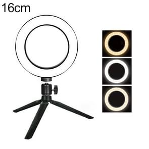 Live Broadcast Self-timer Dimming Ring LED Beauty Selfie Light with Small Table Tripod, Selfie Light Diameter: 16cm