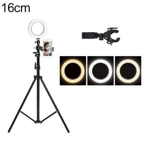 Live Broadcast Self-timer Dimming Ring LED Beauty Selfie Light with Floor Tripod & Phone Clip, Tripod Height: 160cm Max, Selfie Light Diameter: 16cm