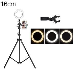 Live Broadcast Self-timer Dimming Ring LED Beauty Selfie Light with Floor Tripod & Phone Clip, Tripod Height: 210cm Max, Selfie Light Diameter: 16cm