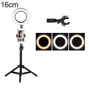 Live Broadcast Self-timer Dimming Ring LED Beauty Selfie Light with Table Tripod & Phone Clip, Tripod Height: 50cm Max, Selfie Light Diameter: 16cm