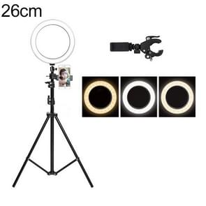Live Broadcast Self-timer Dimming Ring LED Beauty Selfie Light with Floor Tripod & Phone Clip, Tripod Height: 160cm Max, Selfie Light Diameter: 26cm