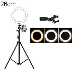 Live Broadcast Self-timer Dimming Ring LED Beauty Selfie Light with Floor Tripod & Phone Clip, Tripod Height: 210cm Max, Selfie Light Diameter: 26cm