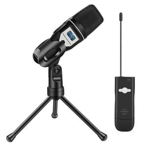 Yanmai UF 6 USB Wireless Condenser Microphone with Tripod Holder & Receiver (Black)