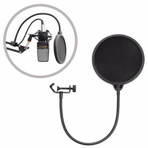 Double-layer Recording Microphone Studio Wind Screen Pop Filter Mask Shield with Clip Stabilizing Arm, For Studio Recording, Live Broadcast, Live Show, KTV, etc(Black)