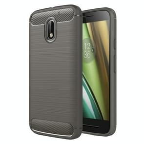 For Motorola Moto E3 Brushed Texture Carbon Fiber TPU Protective Case(Grey)