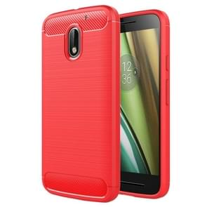 For Motorola Moto E3 Brushed Texture Carbon Fiber TPU Protective Case(Red)