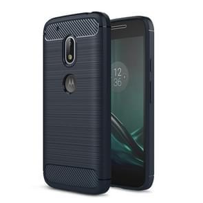 For Motorola Moto G4 Play Brushed Texture Fiber TPU Rugged Armor Protective Case(Dark Blue)