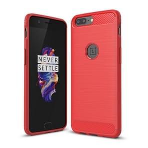 Voor OnePlus 5 geborsteld textuur koolstofvezel schokbestendige TPU ruige Armor beschermende Case(Red)