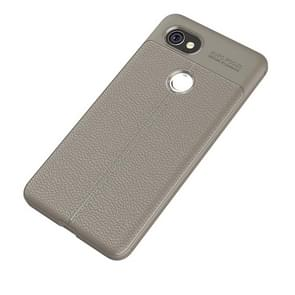 For Google Pixel 2 XL Litchi Texture Full Coverage TPU Protective Back Cover Case (Grey)