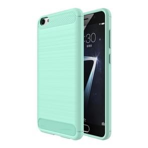 Vivo X7 Plus Geborsteld koolstofvezel structuur beschermend TPU back cover Hoesje (groen)