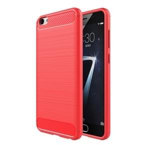 Vivo X7 Plus Geborsteld koolstofvezel structuur beschermend TPU back cover Hoesje (rood)