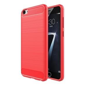 Vivo X7 Geborsteld koolstofvezel structuur beschermend TPU back cover Hoesje (rood)