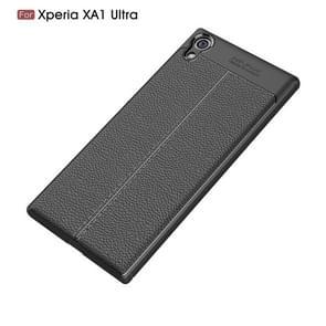Voor Sony Xperia XA1 Ultra Litchi textuur TPU beschermende Back Cover Case(Black)