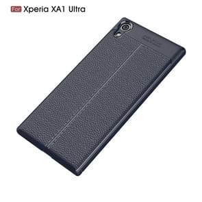 Voor Sony Xperia XA1 Ultra Litchi textuur TPU beschermende Back Cover Case(navy)