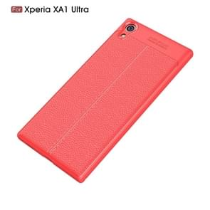 Voor Sony Xperia XA1 Ultra Litchi textuur TPU beschermende Back Cover Case(Red)