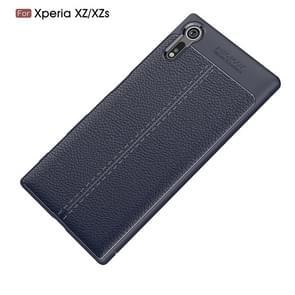 Voor Sony Xperia XZ / XZs Litchi textuur TPU beschermende terug kaft Case(navy)