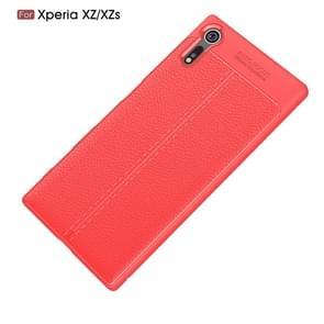 Voor Sony Xperia XZ / XZs Litchi textuur TPU beschermende terug kaft Case(Red)