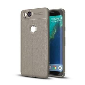 For Google Pixel 2 Litchi Texture Full Coverage TPU Protective Back Cover Case (Grey)