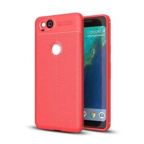 For Google Pixel 2 Litchi Texture Full Coverage TPU Protective Back Cover Case (Red)