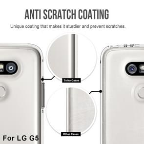 For LG G5 PC + TPU Chrome Plated Press Button Transparent Protective Back Cover Case(Transparent)