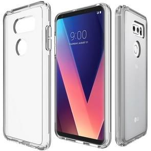 For LG V30 PC + TPU Chrome Plated Press Button Transparent Protective Back Cover Case(Transparent)