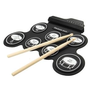 Portable Silicone Hand Roll USB Electronic Drum, Black Icon Version