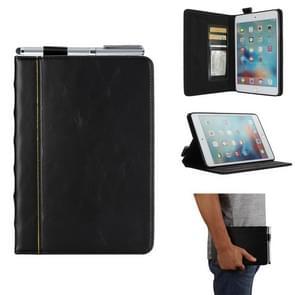 """Bijbel stijl Business horizontale Flip lederen hoes voor de iPad mini 4/3/2/1  met Card Slots & Pen slots"""" & Foto Frame & Holder(Black)"""""""