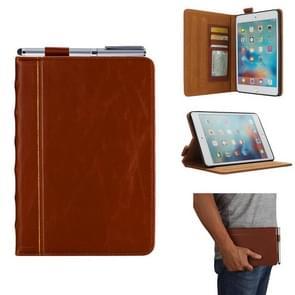 Bijbel stijl Business horizontale Flip lederen case voor iPad Mini 4/3/2/1  met kaartsleuven & pen sleuven & foto frame & houder (licht bruin)