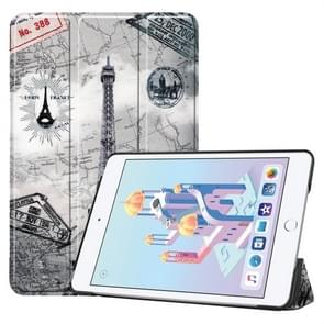 Retro Tower Pattern Custer Texture Horizontal Flip PU Leather Case for iPad Mini 2019 / Mini 4 , with Three-folding Holder & Sleep / Wake-up Function