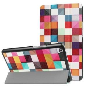 Huawei MediaPad M3 Lite 8.0 kleurrijke vak patroon horizontale vervorming Flip lederen draagtas met drie-vouwen houder & slaap / Wake-up functie