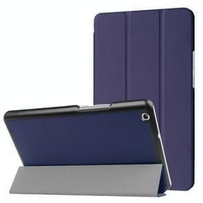 Huawei MediaPad M3 Lite 8.0 Custer textuur horizontale vervorming Flip lederen draagtas met drie-vouwen houder & slaap / Wake-up Function(Dark Blue)