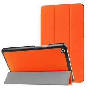 Huawei MediaPad M3 Lite 8.0 Custer textuur horizontale vervorming Flip lederen draagtas met drie-vouwen houder & slaap / Wake-up Function(Orange)