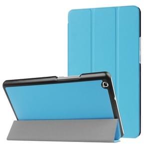Huawei MediaPad M3 Lite 8.0 Custer textuur horizontale vervorming Flip lederen draagtas met drie-vouwen houder & slaap / Wake-up Function(Blue)