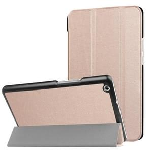 Huawei MediaPad M3 Lite 8.0 Custer textuur horizontale vervorming Flip lederen draagtas met drie-vouwen houder & slaap / Wake-up Function(Rose Gold)