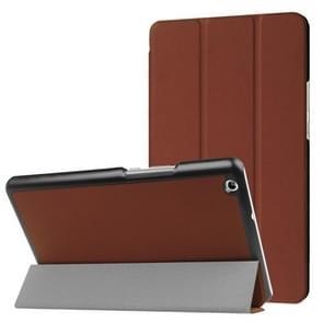 Huawei MediaPad M3 Lite 8.0 Custer textuur horizontale vervorming Flip lederen draagtas met drie-vouwen houder & slaap / Wake-up Function(Brown)