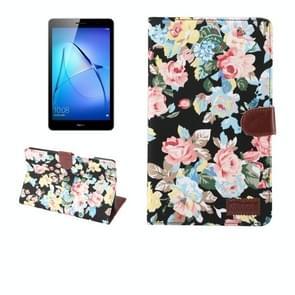 Voor Huawei MediaPad T3 8.0-inch bloem patroon doek oppervlak horizontale Flip leren beschermhoes met houder & Card Slots & portemonnee & fotolijstjes
