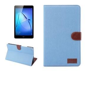 Voor Huawei MediaPad T3 8.0 Denim textuur horizontale Flip lederen draagtas met houder & kaartsleuven & portemonnee & fotolijstjes (Baby blauw)