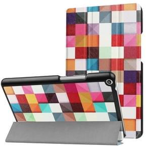 Huawei MediaPad T3 8.0 kleurrijke vak patroon horizontale vervorming Flip lederen draagtas met drie-vouwen houder